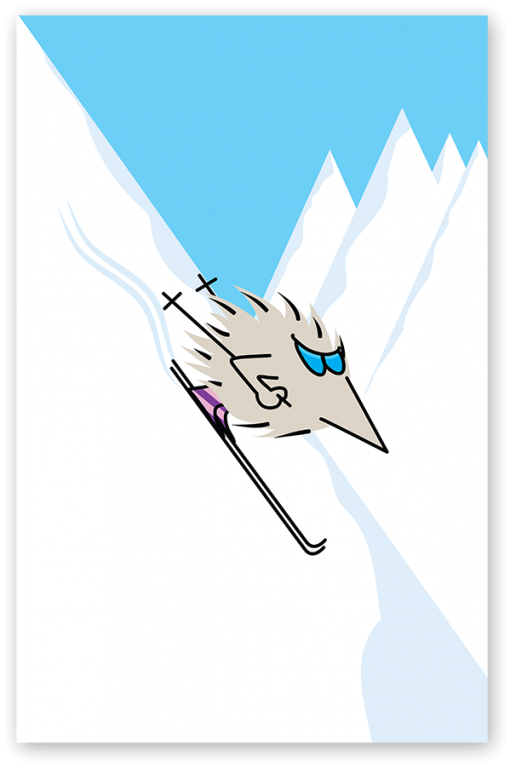 Henry the Hedgegnome skiing.
